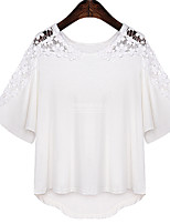 Women's Sexy Casual Lace Cute Plus Sizes Micro  Elastic ½ Length Sleeve Regular T-shirt (Lace/Cotton)