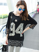 Women's Letter/Patchwork White/Black/Gray T-shirt , Round Neck ¾ Sleeve Lace