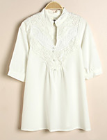 Women's Solid White Blouse ½ Length Sleeve Lace