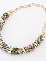 Bohemia Bead Half-Circle Cylinder Necklace(Assorted Color)