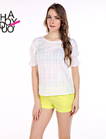 haoduoyi® Women's Sweet Style White Check Petal Sleeve One Button T-shirt