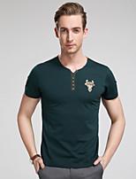 Herren Freizeit/Übergröße T-Shirt Kurz Baumwolle