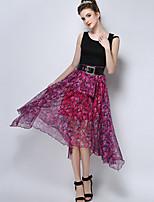 TS Women's Fashion Simplicity Floral Print High Waist Asym Midi Skirts(Chiffon)