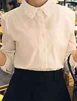 Damen Hemd Baumwoll-Mischung Langarm Hemdkragen