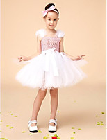 Flower Girl Dress Knee-length Tulle A-line Sleeveless Dress