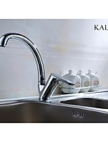 KALUD Chrome Single Handle Finished Solid Brass Kitchen Faucet