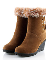 Women's Shoes Fleece Platform Round Toe Boots Dress Black/Brown