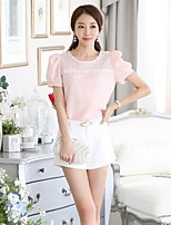 Women's Solid Pink Blouse , Round Neck Short Sleeve Lace