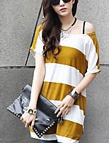 Women's Vintage Casual Micro Elastic Short Sleeve Long T-shirt (Cotton)