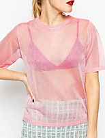 Women's Sexy Crew Neck Short Sleeve Pink Sheer See-through Sexy Tops