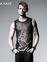 PUNKI RAVE T-352 Men's Casual Pure Sleeveless Regular T-Shirt (Cotton)