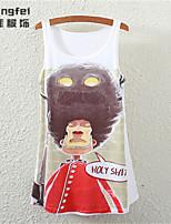 Women's Print White Vest , Round Neck Sleeveless