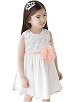 Kids Girl's Summer Flower Sleeveless Gauze Princess Party Dresses (Cotton Blends/Mesh)