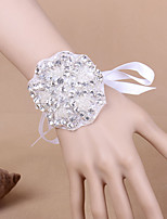 Satin Wedding/Party Fashion Rhinestone/Pearl Flowers Wrist Corsages
