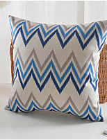 Modern Style Blue Flower Pattern Cotton/Linen Decorative Pillow Cover