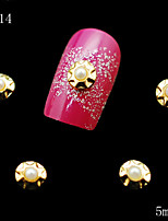 014 DIY 10pcs/lot Nail Metal Alloy Pearls Beads 3D Golden Nail Sticker Rhinestones Nail Art Nail Tools Decoration