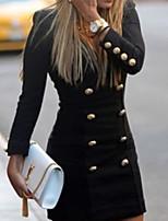 Women's Long Sleeve Cotton/Knitwear/Polyester Coat , Bodycon/Casual