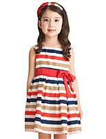 Summer Baby Girls Red And Blue Striped Sleeveless Bow Belt Party Dresses (Cotton Blends)