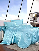 Mingjie Frozen Ice Silk Water Blue Sanding Bedding Sets 4pcs Duvet Cover Sets Queen Size and King Size