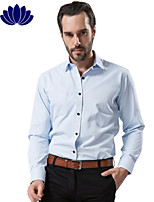 2015 Fashion Light Blue Men Shirts, Black Button, Long sleeve,Solid Color,Turn-down Collar, Single Breasted (1202)
