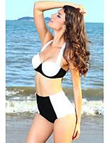 Women's Push-up High Rise/Color Block Halter Bikinis Black White Vintage Style Swimwear(Polyester/Spandex)