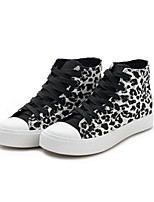 Women's Shoes Canvas Flat Heel Round Toe Fashion Sneakers Outdoor Black/Yellow