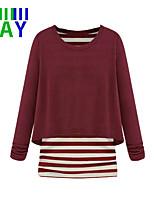ZAY Women's Casual Simple Stripe Patchwork Long Sleeve T-shirt