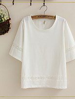 Women's Solid Beige T-shirt , Round Neck/Stand Short Sleeve Lace
