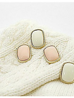 Simple Rectangular Oval Rimmed Square Stud Earrings