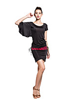 Performance Viscose Special Asymmetrical Bat-wing Sleeve Latin Dancewear Outfits For Ladies
