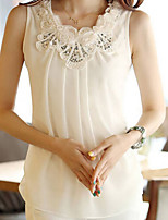 Women's White Blouse , Round Neck Sleeveless Flower