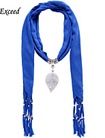 D Exceed  Women Fashion Blue Polyester Solid Color Scarves with Alloy Leaf Pendant Tassel Jewelry Scarfs