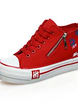 Calçados Femininos Lona Rasteiro Creepers/Arrendondado Tênis Social Escritório & Trabalho/Casual Vermelho