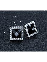 Women's Hot  Selling 2015 Sterling Silver Jewelry Earrings Korean Square High-Grade Black Agate Earrings