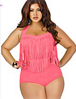 Women's Halter One-pieces , High Rise/Tassels/Solid Push-up/Underwire Bra/Padless Bra Polyester/Spandex White/Red/Black