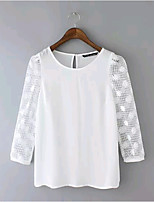 Women's Fashion Summer Casual Crochet Patchwork Inelastic Long Sleeve Regular Blouse Shirts (Chiffon/Lace)