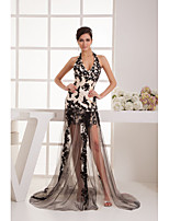 Formal Evening Dress A-line Halter Knee-length/Court Train Tulle Women Long Prom Dress