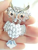 Women Accessories Silver-tone Clear Rhinestone Crystal Owl Brooch Art Deco Crystal Brooch