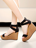 Women's Shoes Fleece Wedge Heel Peep Toe Platform Sandals