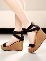 Women's Shoes Fleece Wedge Heel Peep Toe Platform Sandals