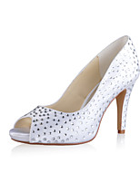Women's Shoes Silk Stiletto Heel Heels/Peep Toe Pumps/Heels Wedding/Party & Evening White/Beige