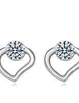 Jazlyn Woman Authentic Platinum Plated 925 Sterling Silver Heart Home of Love Wedding Speech Cubic Zircon Stud Earrings
