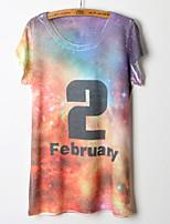 Women's Print/Letter Multi-color T-shirt , Round Neck Short Sleeve