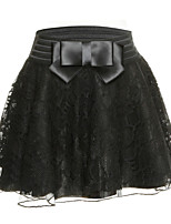Women's Casual Lace Micro-elastic Medium Above Knee Skirts (Lace)