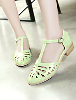 Women's Shoes Leatherette Low Heel Pointed Toe Sandals Office & Career/Dress Green/Pink/White