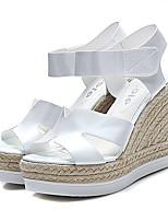 Chaussures Femme Similicuir Talon Compensé Compensées/A Plateau/Bout Ouvert Sandales Habillé Noir/Blanc/Argent