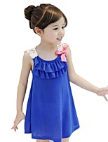 Kids Girls Summer Bow Sleeveless Lace Hollow Party Dresses (Cotton)