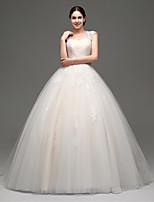 웨딩 드레스 프린세스 바닥 길이 스트랩 튤