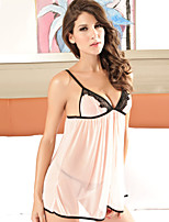 Women Lycra/Lace Sexy V Neck Thin Sleepwear Gowns Pink