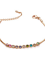 T&C Women's Elegant Gifts Jewelry 18K Rose Gold Plated 10 Pieces Colourful Simulated Diamond Rhinestones Tennis Bracelet